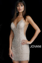 Load image into Gallery viewer, Nude Silver Beaded Backless Plunging Neckline Short Dress 58588 - Marleighz