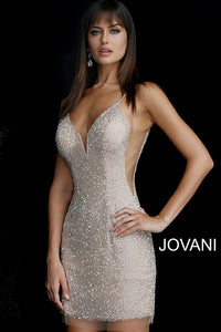 Nude Silver Beaded Backless Plunging Neckline Short Dress 58588 - Marleighz