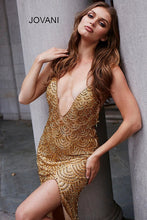 Load image into Gallery viewer, Gold Long V Neck Embellished Couture Dress 58614 - Marleighz