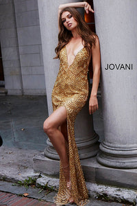 Gold Long V Neck Embellished Couture Dress 58614 - Marleighz