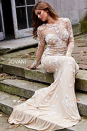 Ivory and Nude Long Sleeve Beaded Couture Dress 59897 - Marleighz