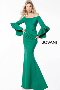Green Scuba Off the Shoulder Bell Sleeves Evening Dress 59993 - Marleighz