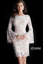 Load image into Gallery viewer, Blush Nude Long Bell Sleeves Lace Evening Dress 61202 - Marleighz