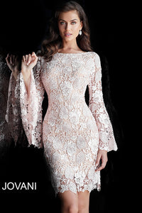 Blush Nude Long Bell Sleeves Lace Evening Dress 61202 - Marleighz