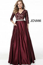 Load image into Gallery viewer, Burgundy Three Quarter Sleeve Embellished Belt A Line Evening Gown 61207 - Marleighz
