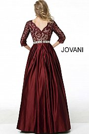 Burgundy Three Quarter Sleeve Embellished Belt A Line Evening Gown 61207 - Marleighz