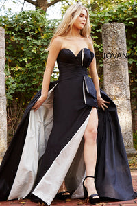 Sweetheart Neck Black and White Couture Dress 61296 - Marleighz
