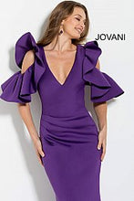 Load image into Gallery viewer, Purple Ruched Bodice Long Scuba Evening Gown 61518 - Marleighz