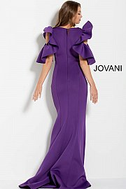 Purple Ruched Bodice Long Scuba Evening Gown 61518 - Marleighz