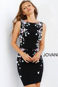Black Multi Floral Appliques Jersey Fitted Cocktail Dress 61675 - Marleighz