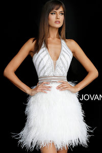 Off White Silver Halter Neck Feather Cocktail Dress 62303 - Marleighz