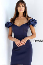 Load image into Gallery viewer, Navy Sweetheart Neckline Off the Shoulder Short Dress 63186 - Marleighz