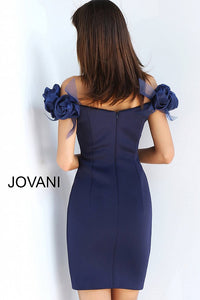 Navy Sweetheart Neckline Off the Shoulder Short Dress 63186 - Marleighz