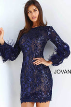 Load image into Gallery viewer, Navy Long Sleeve Embellished Cocktail Dress 63351 - Marleighz