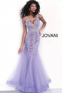 Lavendar Plunging Neckline Beaded Mermaid Prom Dress 63700 - Marleighz