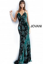 Load image into Gallery viewer, Emerald Tie Back Plunging Neckline Evening Dress 64223 - Marleighz
