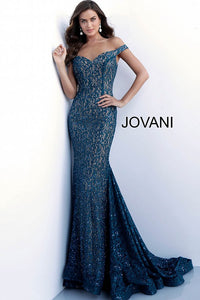 Peacock Embellished Lace Off the Shoulder Prom Dress 64521 - Marleighz