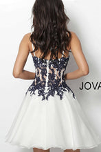 Load image into Gallery viewer, Ivory Navy Embroidered Bodice Chiffon Short Dress 65718 - Marleighz