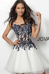 Ivory Navy Embroidered Bodice Chiffon Short Dress 65718 - Marleighz