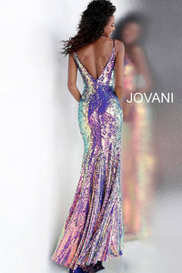 Multi Low V Neck Spaghetti Straps Sequin Prom Dress 67318 - Marleighz