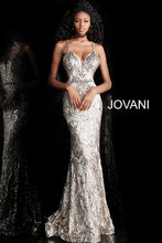 Load image into Gallery viewer, Gold Silver Criss Cross Back Embellished Prom Dress 67347 - Marleighz