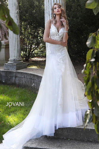 White Spaghetti Straps Long Train Wedding Gown JB65930 - Marleighz