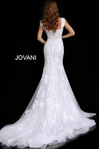 Off White Cap Sleeve Embroidered Wedding Gown JB63169 - Marleighz