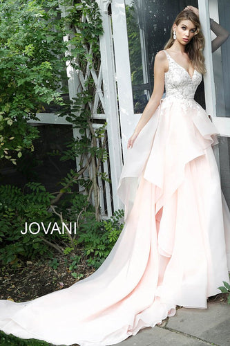 Blush Embroidered Bodice Wedding Gown JB65929 - Marleighz