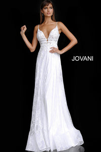 Off White Plunging Neckline Embroidered Wedding Dress JB65931 - Marleighz