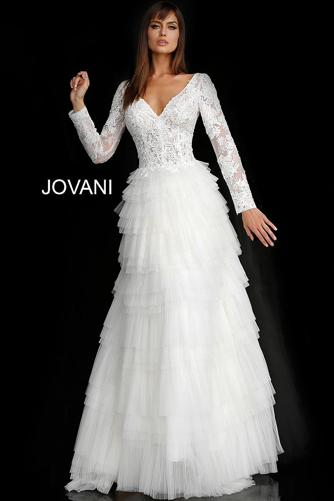 Off White Lace Long Sleeve Bodice Bridal Dress JB65932 - Marleighz