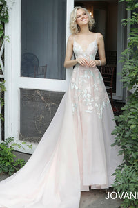 Blush Embroidered V Neck Wedding Dress JB65933 - Marleighz