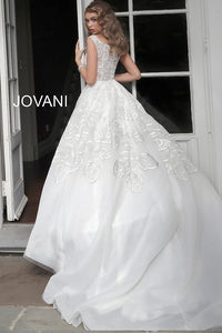 Off White Embellished V Neck Wedding Dress JB65936 - Marleighz