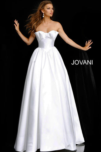 Off White Strapless Lace Up Back Wedding Ballgown JB68158 - Marleighz