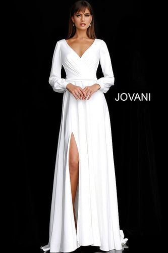 Off White Long Sleeve V Neck Bridal Dress JB68162 - Marleighz