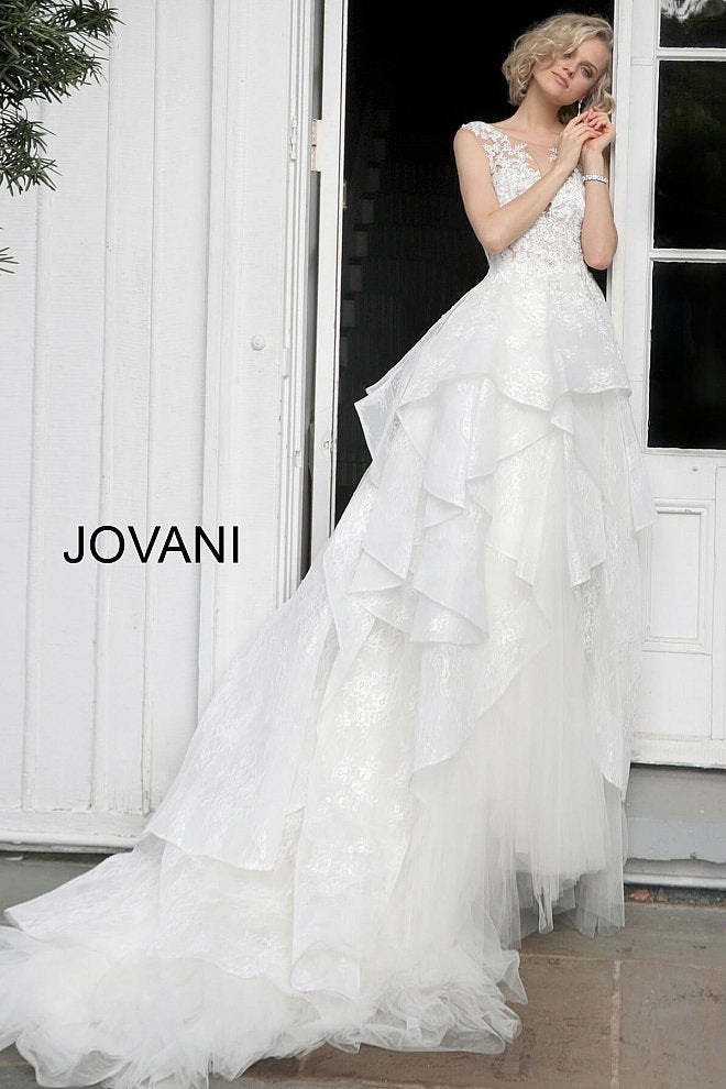 Off White Floral Embroidered Wedding Dress JB68165 - Marleighz