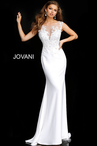 Off White Floral Embroidered Fitted Wedding Gown JB68166 - Marleighz