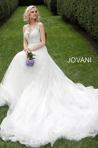 Off White Sleeveless Embroidered Bodice Wedding Dress JB68167 - Marleighz