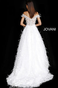 Off White Floral Appliques Off the Shoulder Bridal Gown JB68170 - Marleighz