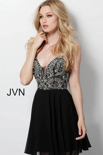 Black Embellished See Through Bodice Homecoming Dress JVN47310 - Marleighz