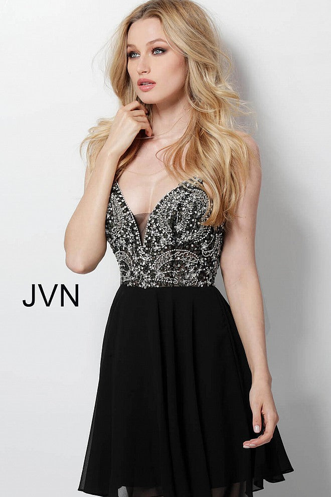 fce1bdfe0c6 Load image into Gallery viewer, Black Embellished See Through Bodice  Homecoming Dress JVN47310 - Marleighz ...