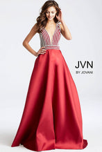 Load image into Gallery viewer, Burgundy and Silver Embellished Bodice Prom Ballgown JVN54705 - Marleighz