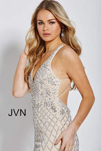 Load image into Gallery viewer, Silver Nude Embellished Backless Prom Dress JVN54552 - Marleighz