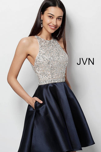 Black Embellished Bodice Sleeveless Short Dress JVN57782 - Marleighz