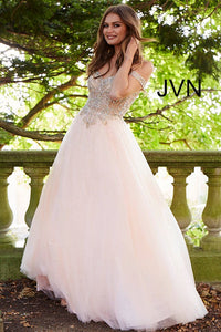 Blush Gold Embellished Off the Shoulder Prom Ballgown JVN58403 - Marleighz