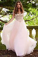 Load image into Gallery viewer, Blush Gold Embellished Off the Shoulder Prom Ballgown JVN58403 - Marleighz