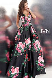 Multi Side Cut Out Floral V Neck Gown JVN59146 - Marleighz