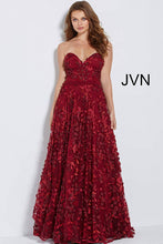 Load image into Gallery viewer, Wine Embroidered Strapless Floral Prom Ballgown JVN60436 - Marleighz