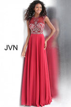 Load image into Gallery viewer, Burgundy High Sheer Neckline Chiffon Prom Dress JVN60451 - Marleighz