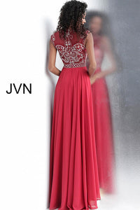 Burgundy High Sheer Neckline Chiffon Prom Dress JVN60451 - Marleighz