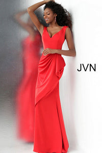 Red V Neckline Ruched Waist Prom Dress JVN60849 - Marleighz